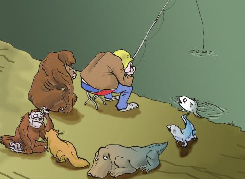 Cartoon: evolution (medium) by andart tagged evolution,fisherman,