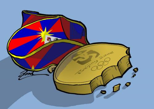 Cartoon: Free Tibet (medium) by andart tagged tibet,free,gold,aid,flag,cookie,starvation,olympic,games