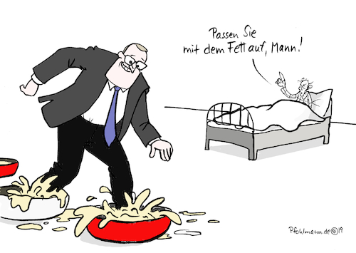 Cartoon: Fettnapf-Spahn (medium) by Pfohlmann tagged spahn,gesundheitsminister,fett,fettnapf,gesundheit,tipps,spahn,gesundheitsminister,fett,fettnapf,gesundheit,tipps
