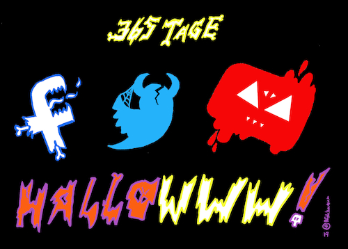Cartoon: Hallowww (medium) by Pfohlmann tagged 2019,www,halloween,internet,hetze,hass,facebook,youtube,twitter,social,media,soziale,medien,aggression,2019,www,halloween,internet,hetze,hass,facebook,youtube,twitter,social,media,soziale,medien,aggression