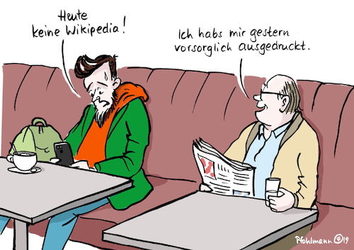Cartoon: Wikipedia-Streik (medium) by Pfohlmann tagged wikipedia,internet,urheberrecht,reform,eu,streik,website,webseite,ausdrucken,user,www,uploadfilter,protest,wikipedia,internet,urheberrecht,reform,eu,streik,website,webseite,ausdrucken,user,www,uploadfilter,protest