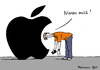 Cartoon: Nimm mich! (small) by Pfohlmann tagged karikatur,cartoon,color,farbe,2014,deutschland,global,apple,nimm,mich,nutzer,datenschutz,technik,technologie,watch,uhr,armbanduhr,smart,internet,vernetzung,neuheit,überwachung,handy,smartphone,iphone,iwatch