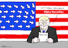 Cartoon: US-Fachkraft (small) by Pfohlmann tagged karikatur cartoon 2017 color farbe usa trump präsident fachkraft fachkräfte visum visa einreise dekret bestimmungen immigration immigranten arbeitserlaubnis hire america first flagge fahne stars and stripes