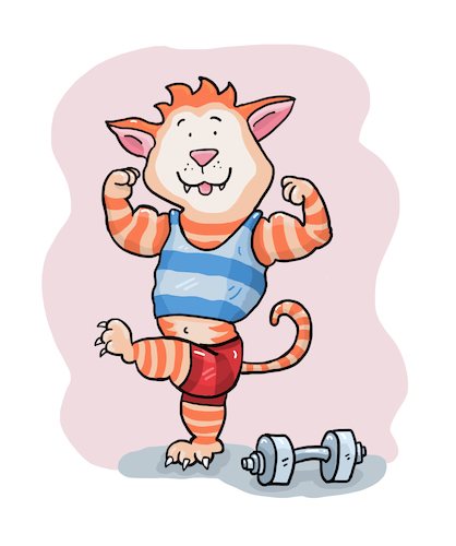 Cartoon: Muskelkater Sport (medium) by sabine voigt tagged muskelkater,sport,trainieren,training,schmerzen,bodybuilding,gewichte,krafttraining,fitness,studio,kater,katze