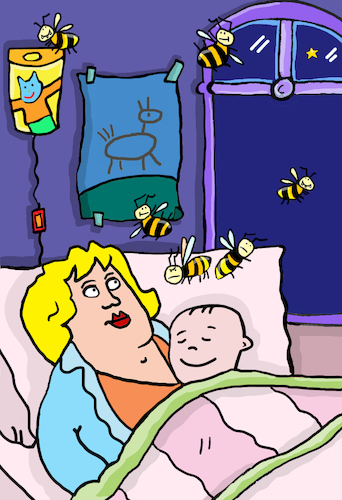 Cartoon: Mutter und Baby Wespen (medium) by sabine voigt tagged mutter,baby,wespen,schlafen,bienen,insekten,kind,krankenhaus