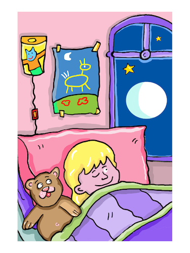 Cartoon: nacht Schlafzimmer mond (medium) by sabine voigt tagged nacht,schlafzimmer,mond,kinderkamer,märchen,angst,gruwel,geschichte,vorlesen,schlafen,kleinkind,erziehung,pädagogik