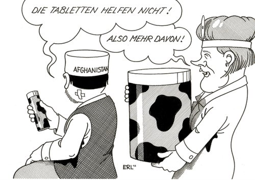 Cartoon: Afghanistan (medium) by Erl tagged afghanistan,therapie,arzt,tabletten,wirkung,mehr,medizin