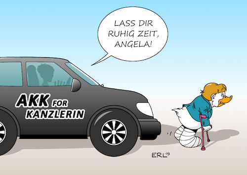Cartoon: AKK Merkel (medium) by Erl tagged politik,partei,cdu,vorsitzende,annegret,kramp,karrenbauer,ambitionen,amt,bundeskanzlerin,amtsinhaberin,angela,merkel,lame,duck,auto,suv,krücken,ente,karikatur,erl,politik,partei,cdu,vorsitzende,annegret,kramp,karrenbauer,ambitionen,amt,bundeskanzlerin,amtsinhaberin,angela,merkel,lame,duck,auto,suv,krücken,ente,karikatur,erl