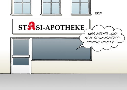 Cartoon: Apotheke (medium) by Erl tagged apotheke,lobby,gesundheitsministerium,spion,it,spezialist,fachmann,computer,pc,information,lobbyist,stasi,apotheke,lobby,gesundheitsministerium,spion,it,spezialist,fachmann,computer,pc,information,lobbyist,stasi