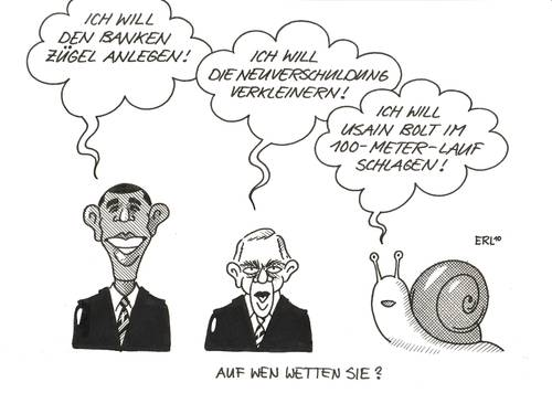 Cartoon: Auf wen wetten Sie? (medium) by Erl tagged barack obama,banken,bank,schulden,neuverschuldung,kürzen,verkleinern,einhundertmeterlauf,versprechen,wette,barack,obama