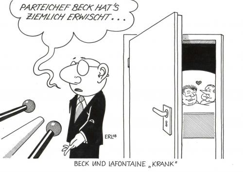 Cartoon: Beck und Lafontaine (medium) by Erl tagged spd,die,linke,german,politicians,,spd,die,linke,german,kurt,beck,oskar,lafontaine,kommunismus,koalition,rot,bündnis,wahlen,versprechen,lügen,presse,oskar lafontaine,kurt beck