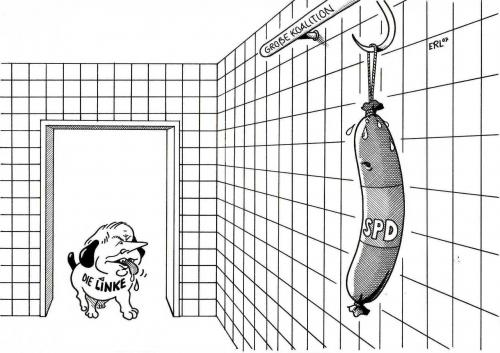 Cartoon: Die Linke (medium) by Erl tagged ,partei,hund,wurst,haken,koalition,spd,linke,aufhängen,schwitzen,linksruck,oskar lafontaine,oskar,lafontaine,wasg,pds