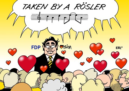 Cartoon: FDP-Vision (medium) by Erl tagged fdp,parteitag,vorsitz,vorsitzender,chef,philipp,rösler,rede,sympathie,begeisterung,herz,herzen,eurovision,song,contest,lena,taken,by,stranger,musik,lied,parteitag,fdp,vorsitz,vorsitzender,rösler,rede,sympathie,begeisterung,eurovision,lena,stranger,musik