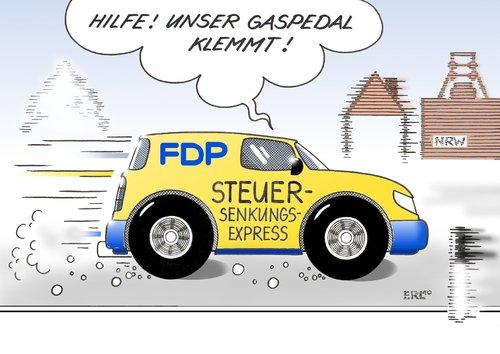 Cartoon: FDP (medium) by Erl tagged fdp,steuersenkung,hotel,wahl,nrw,auto,gaspedal,fdp,steuersenkung,hotel,wahl,nrw,auto,gaspedal