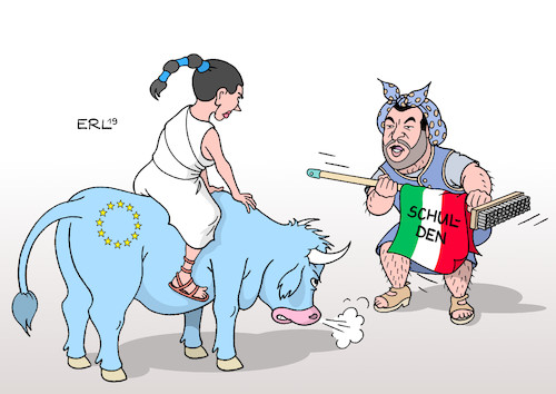 Cartoon: Haushälter Salvini (medium) by Erl tagged politik,finanzen,italien,schulden,staatsverschuldung,defizitkriterien,eu,androhung,defizitverfahren,strafen,milliarden,matteo,salvini,rechtspopulismus,rechtsextremismus,nationalismus,lega,nord,koalition,fünf,sterne,europa,stier,karikatur,erl,politik,finanzen,italien,schulden,staatsverschuldung,defizitkriterien,eu,androhung,defizitverfahren,strafen,milliarden,matteo,salvini,rechtspopulismus,rechtsextremismus,nationalismus,lega,nord,koalition,fünf,sterne,europa,stier,karikatur,erl