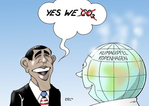 Cartoon: Obama Klima (medium) by Erl tagged klima,klimawandel,erderwärmung,gipfel,kopenhagen,usa,co2,reduktion,hoffnung,yes,we,can