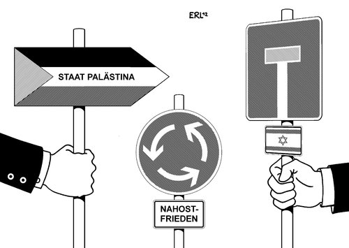 Cartoon: Palästina Israel (medium) by Erl tagged palästina,un,beobachter,status,staat,anerkennung,israel,sackgasse,nahost,frieden,friede,schild,verkehrsschild,flagge,kreisverkehr