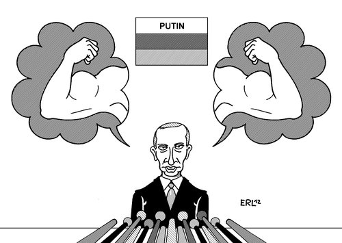 Cartoon: Putin (medium) by Erl tagged putin,russland,pressekonferenz,stärke,demokratie,menschenrechte,pressefreiheit,opposition