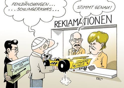 Cartoon: Reklamationen (medium) by Erl tagged reklamation,geschenk,schwarz,gelb,cdu,csu,fdp,fehlstart,fehlzündung,schlingerkurs,afghanistan,demokratie,zu,guttenberg,merkel,lammert,kritik,reklamation,geschenk,schwarz,gelb,cdu,csu,fdp,fehlstart,fehlzündung,schlingerkurs,afghanistan,demokratie,guttenberg,angela merkel,lammert,kritik,angela,merkel