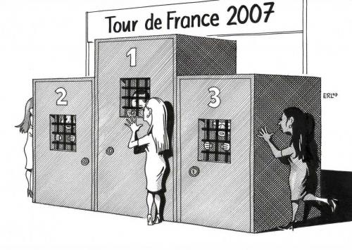 Cartoon: Tour de France (medium) by Erl tagged ,tour,de,france,2007,123,kabine,preis,platz,gefangen,stall,eingesperrt,treppchen,tour de france,doping