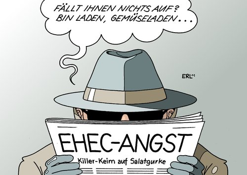 Cartoon: Verschwörungstheorie (medium) by Erl tagged verschwörung,verschwörungstheorie,ehec,keim,gemüse,gurke,salatgurke,terror,terrorismus,bin,laden,gemüseladen,angst,panik,killer,verschwörung,verschwörungstheorie,ehec,keim,gemüse,gurke,salatgurke,terror,terrorismus,laden,gemüseladen,angst,osama bin laden,osama,bin