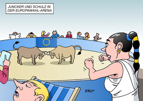 Cartoon: Wahl-Arena (medium) by Erl tagged europawahl,eu,europa,wahl,fernsehduell,kandidaten,jean,claude,juncker,martin,schulz,wahlarena,stier,stierkampf,konservative,sozialisten,interesse,europawahl,eu,europa,wahl,fernsehduell,kandidaten,jean,claude,juncker,martin,schulz,wahlarena,stier,stierkampf,konservative,sozialisten,interesse