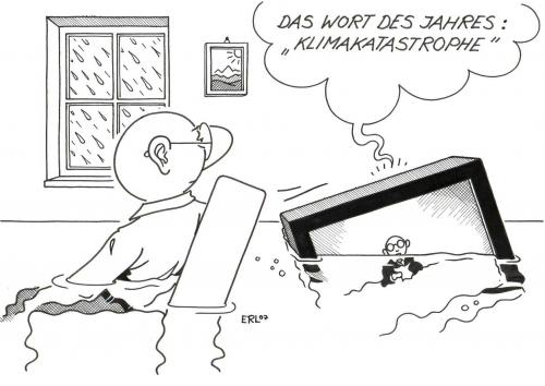 Cartoon: Wort des Jahres (medium) by Erl tagged klima,sprache,klima,umwelt,sprache,klimakatastrophe,unwort,untergehen,untergang,hochwasser,nachrichten,klimawandel,erderwärmung