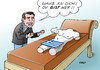 Cartoon: Tsipras (small) by Erl tagged griechenland,regierung,neu,alexis,tsipras,ministerpräsident,motivation,land,glaube,optimismus,psychologie,couch,torso