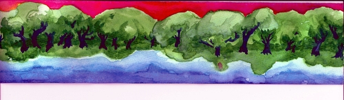Cartoon: Forests desde Trees (medium) by robobenito tagged forests,watercolor,rainbow,colors,trees,green,sky,river,water,landscape,nature,evening,morning,day,paint