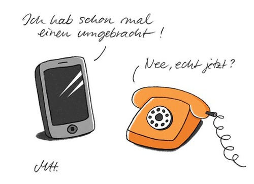Cartoon: Telefon (medium) by Martina Hillemann tagged mobilephone,smartphone,auto,mobile,handy,telefon,telephone,phone
