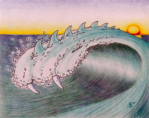 Cartoon: Killerwave!!! (medium) by robjoeball tagged wave,teeth,killer,sunset,california,death