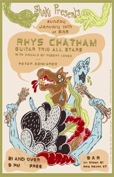 Cartoon: Promo Poster-Rhys Chatham (medium) by John Bent tagged avant,rock,horses,explosions,music,gig,posters,