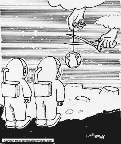 Cartoon: CUTTING OFF (medium) by EASTERBY tagged spacemen,moon