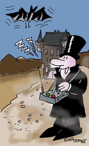 Cartoon: DRACULA ON REMOTE (medium) by EASTERBY tagged dracula,