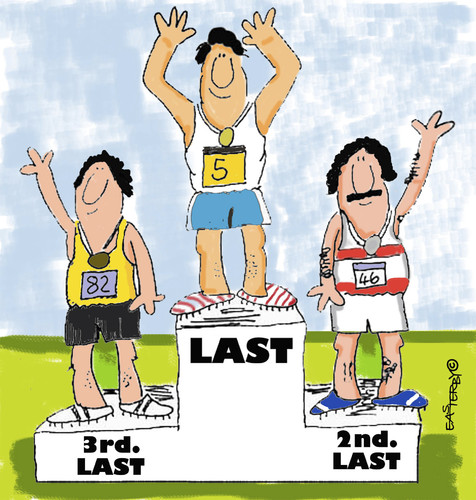 Cartoon: EVERYBODY IS A WINNER (medium) by EASTERBY tagged sports,rostrum,prizes,medals,gewinner,verlierer,sport