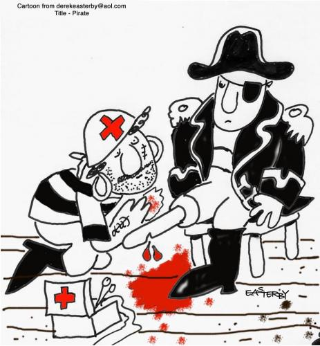 Cartoon: First aid pirate style (medium) by EASTERBY tagged health,and,safety,