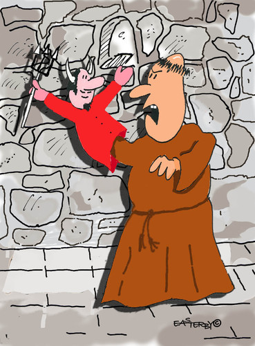 Cartoon: Holy Orders 12 (medium) by EASTERBY tagged glove,puppets,monks,devils