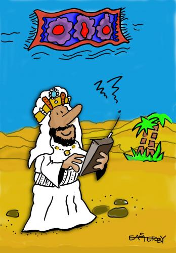 Cartoon: Remote controlled carpet (medium) by EASTERBY tagged flying,carpet,sheik,desert,