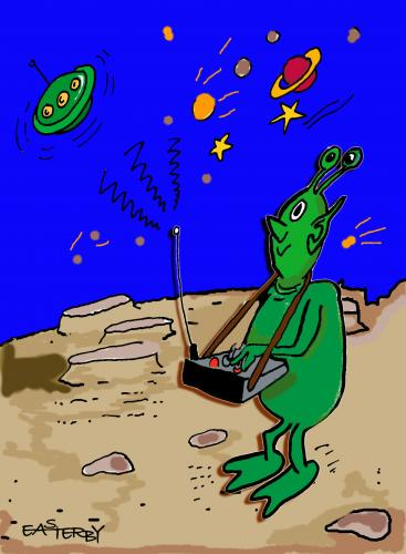 Cartoon: Remote controlled Saucer (medium) by EASTERBY tagged flying,saucers,green,mars,man,