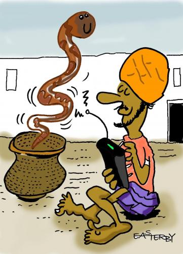 Cartoon: SNAKE ON REMOTE (medium) by EASTERBY tagged snakecharmer,india,