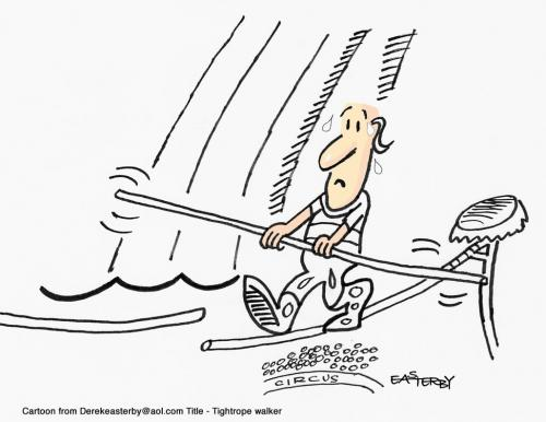 Cartoon: tightrope walker (medium) by EASTERBY tagged circus,