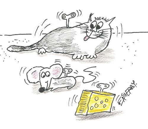 Cartoon: Wound up  cat and mouse (medium) by EASTERBY tagged toys,clockwork