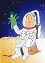 Cartoon: Spaceman with glovepuppet (small) by EASTERBY tagged spaceman,glovepuppet,toys