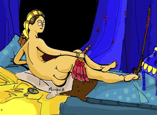 Cartoon: 3 rumps Odelisque (medium) by Munguia tagged odelisque,odelisca,ingres,naked,woman,rump,ass,back,nude