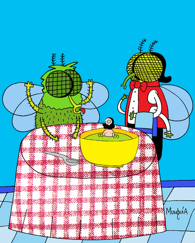 Cartoon: A man in the soup (medium) by Munguia tagged fly,soup,restaurant,man,meal,lunch,bugs