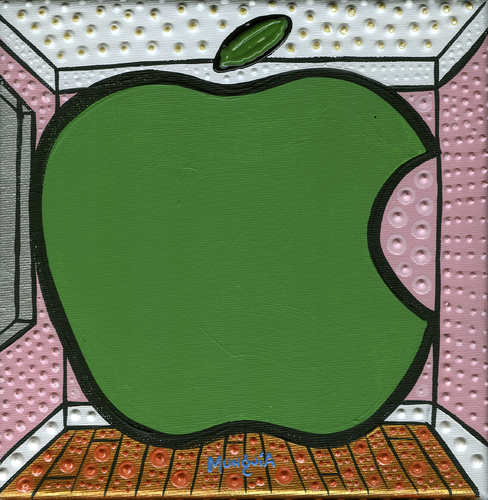 Cartoon: Apple (medium) by Munguia tagged rene,magritte,the,listening,room,big,apple,famous,paintings,parodies,calcamunguias,version,spoof