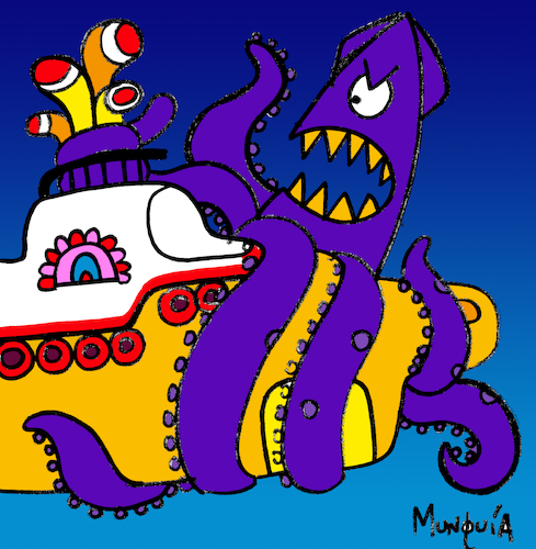 Cartoon: Biq Squid (medium) by Munguia tagged yellow,submarine,the,beatles,cover,album,parodies,parody,music