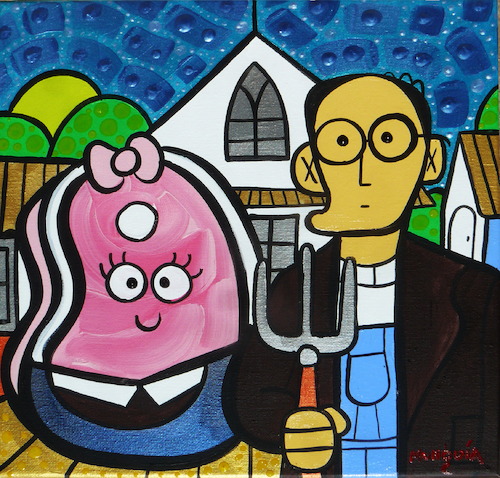 Cartoon: casado con chuleta (medium) by Munguia tagged american,gothic,gotico,americano,grant,wood,parody,famous,paintings,meat