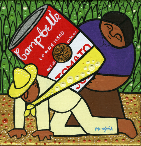 Cartoon: Culture pop base (medium) by Munguia tagged diego,rivera,andy,warhol,munguia,culture,pop,campbell,soup,can,flower,carrier,sopa,cargador,de,flores