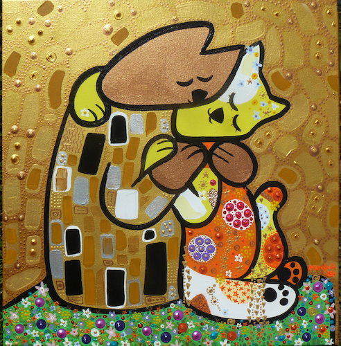 Cartoon: Kitten Kiss (medium) by Munguia tagged kitten,cats,gatos,kiss,beso,klimt,gustav,famous,paintings,parodies,parodias,de,pinturas,famosas